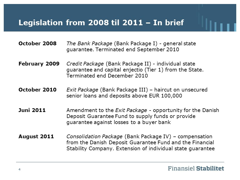 4 Legislation from 2008 til 2011 – In brief October 2008The Bank Package (Bank Package I) - general state guarantee. Terminated end September 2010 Feb