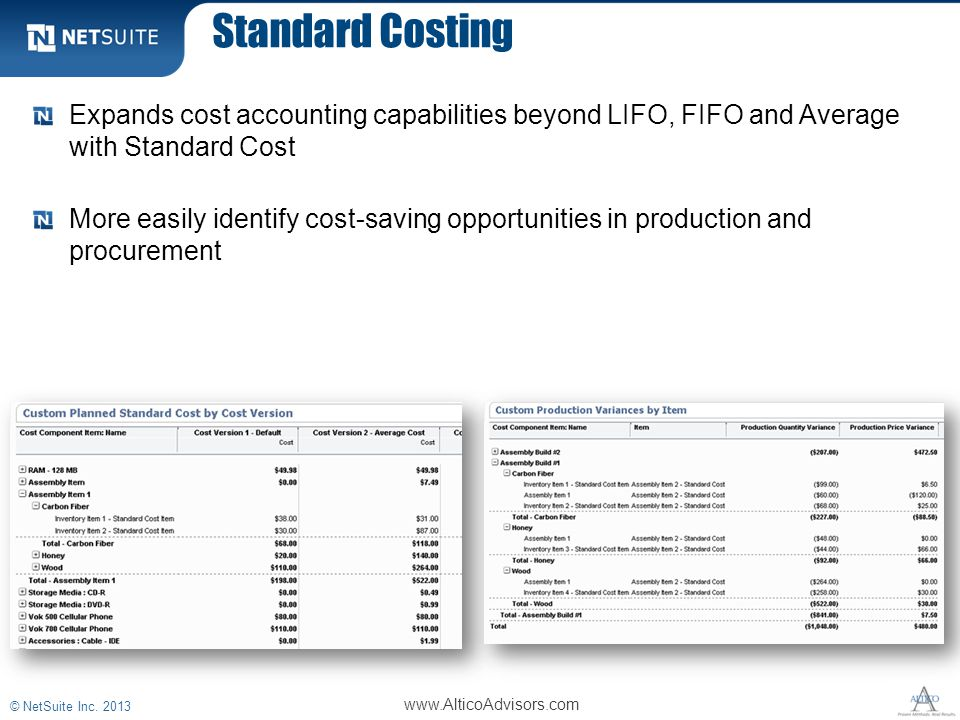 Standard Costing Expands cost accounting capabilities beyond LIFO, FIFO and Average with Standard Cost More easily identify cost-saving opportunities