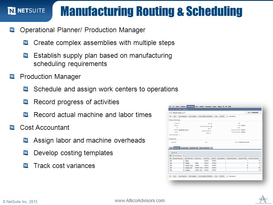 Manufacturing Routing & Scheduling © NetSuite Inc. 2013 Operational Planner/ Production Manager Create complex assemblies with multiple steps Establis