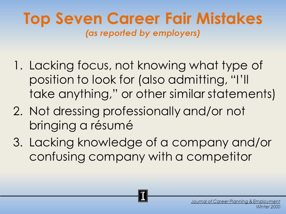 Mistakes Cont.4. Lacking enthusiasm or interest 5.