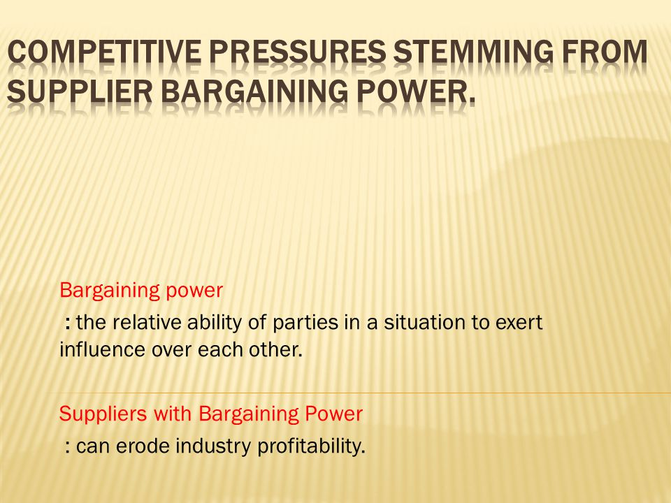 Bargaining power : the relative ability of parties in a situation to exert influence over each other. Suppliers with Bargaining Power : can erode indu