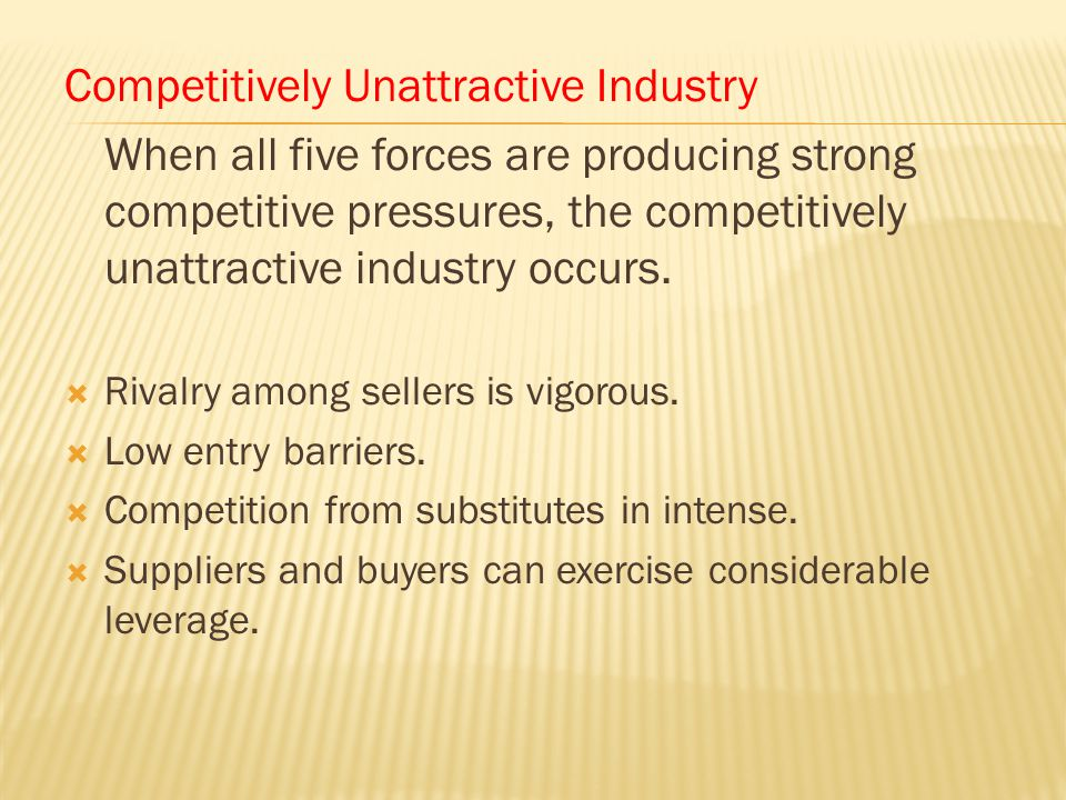 Competitively Unattractive Industry When all five forces are producing strong competitive pressures, the competitively unattractive industry occurs. 