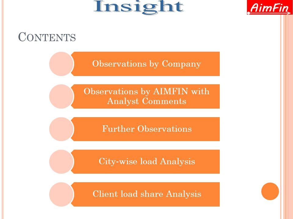 C ONTENTS Observations by Company Observations by AIMFIN with Analyst Comments Further Observations City-wise load Analysis Client load share Analysis