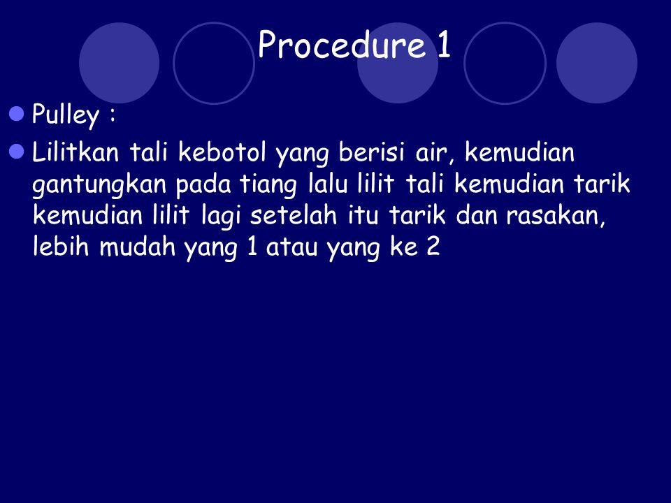 Procedure 2 lever: Buatlah papan jungkat-jungkit menggunakan penggaris Kemudian gunakan penghapus sebagai titik tumpu
