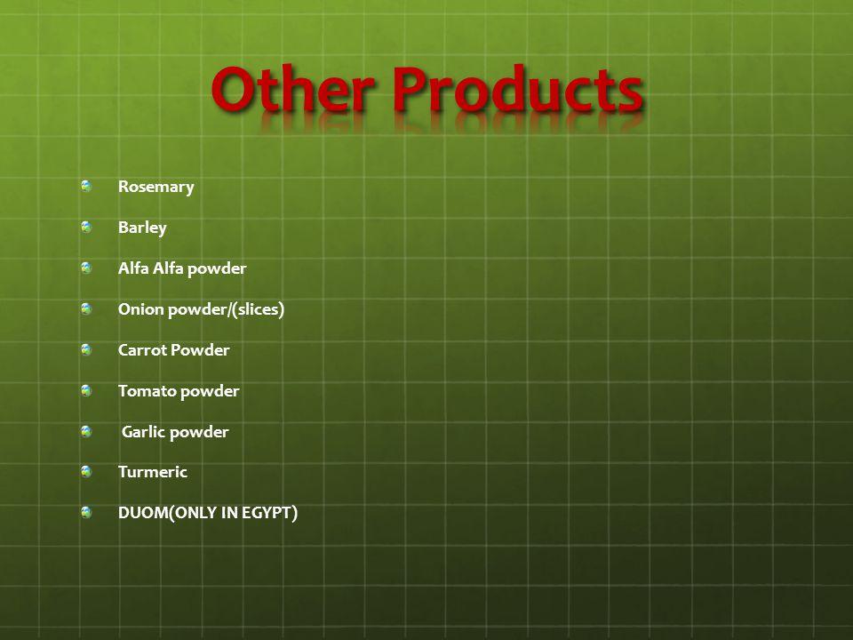 Rosemary Barley Alfa Alfa powder Onion powder/(slices) Carrot Powder Tomato powder Garlic powder Turmeric DUOM(ONLY IN EGYPT)