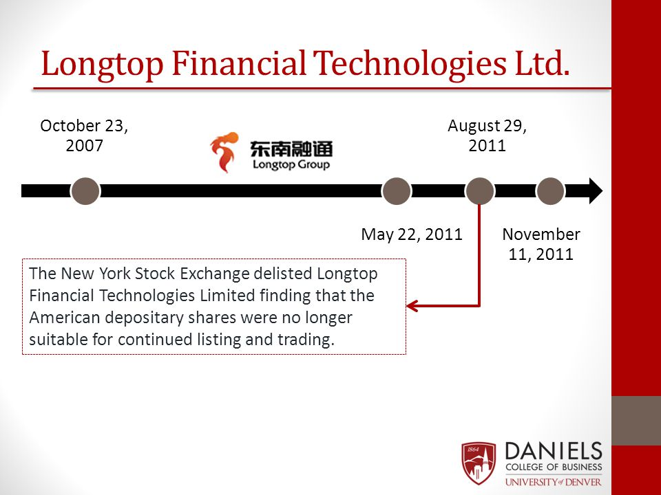 Longtop Financial Technologies Ltd. October 23, 2007 May 22, 2011 August 29, 2011 November 11, 2011 The New York Stock Exchange delisted Longtop Finan