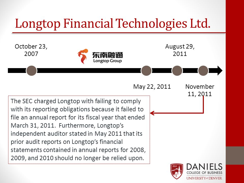 Longtop Financial Technologies Ltd. October 23, 2007 May 22, 2011 August 29, 2011 November 11, 2011 The SEC charged Longtop with failing to comply wit