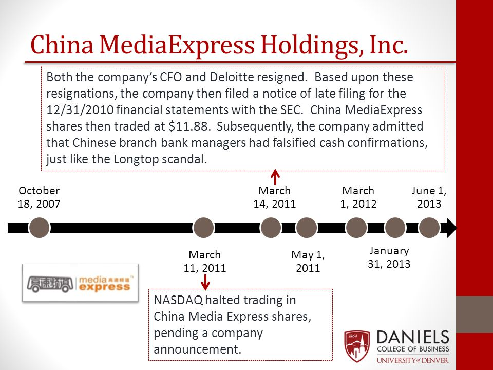 October 18, 2007 May 1, 2011 March 14, 2011 March 11, 2011 March 1, 2012 January 31, 2013 June 1, 2013 China MediaExpress Holdings, Inc. NASDAQ halted