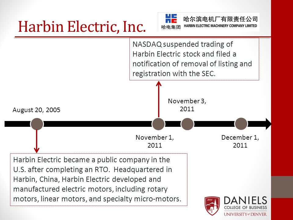 August 20, 2005 November 1, 2011 November 3, 2011 December 1, 2011 Harbin Electric, Inc. NASDAQ suspended trading of Harbin Electric stock and filed a