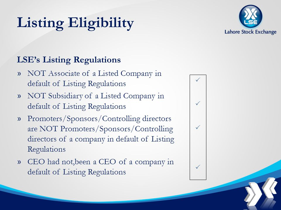 Listing Eligibility LSE's Listing Regulations » NOT Associate of a Listed Company in default of Listing Regulations » NOT Subsidiary of a Listed Company in default of Listing Regulations » Promoters/Sponsors/Controlling directors are NOT Promoters/Sponsors/Controlling directors of a company in default of Listing Regulations » CEO had not,been a CEO of a company in default of Listing Regulations 