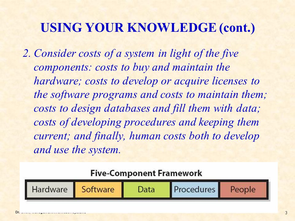 Dr. Chen, Management Information Systems 3 USING YOUR KNOWLEDGE (cont.) 2.Consider costs of a system in light of the five components: costs to buy and