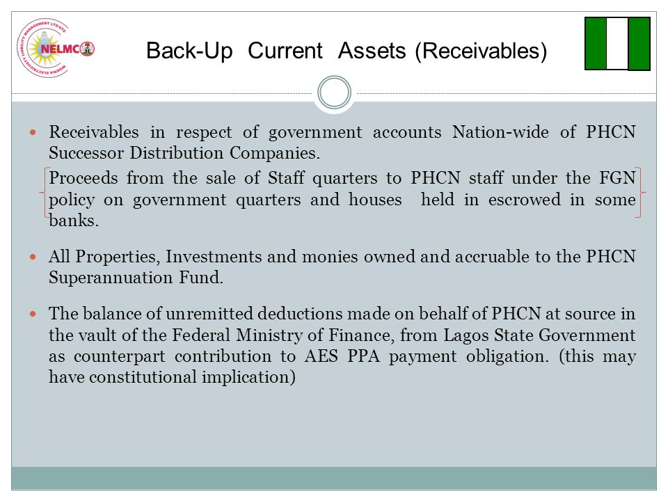 Back-Up Current Assets (Receivables) Receivables in respect of government accounts Nation-wide of PHCN Successor Distribution Companies.