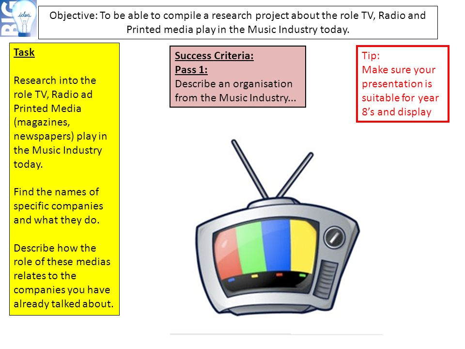 Objective: To be able to compile a research project about the role TV, Radio and Printed media play in the Music Industry today.