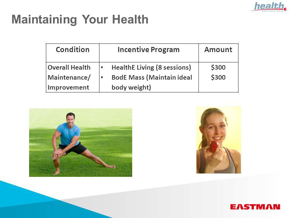 Maintaining Your Health ConditionIncentive ProgramAmount Overall Health Maintenance/ Improvement HealthE Living (8 sessions) BodE Mass (Maintain ideal body weight) $300