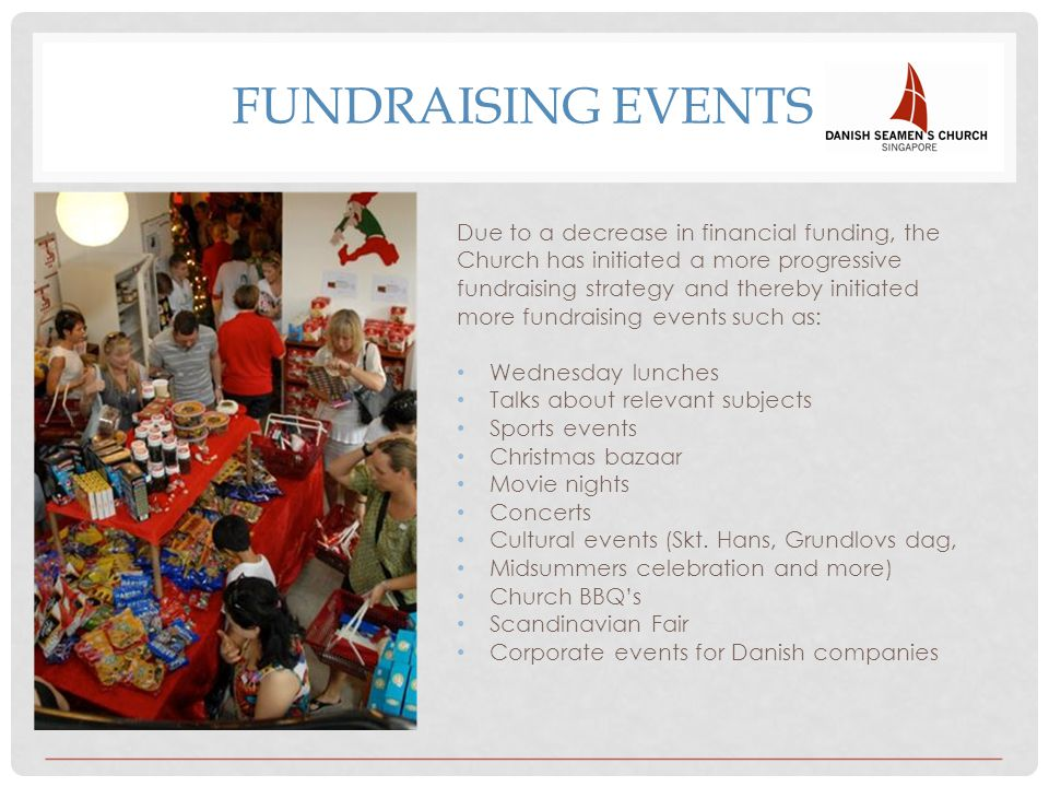 FUNDRAISING EVENTS Due to a decrease in financial funding, the Church has initiated a more progressive fundraising strategy and thereby initiated more