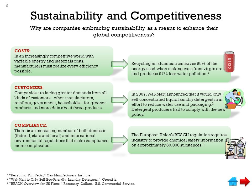 Sustainability and Competitiveness Why are companies embracing sustainability as a means to enhance their global competitiveness.