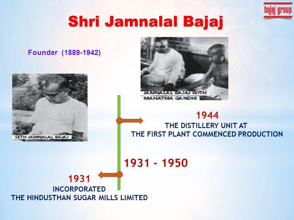Founder (1889-1942) 1931 - 1950 Shri Jamnalal Bajaj