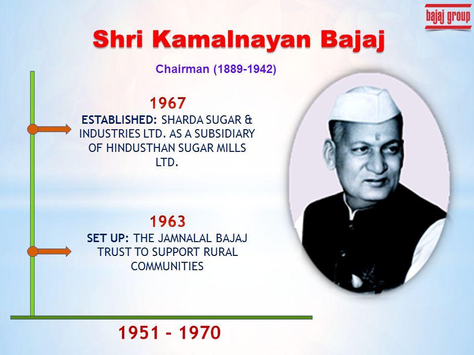Chairman (1889-1942) Shri Kamalnayan Bajaj 1951 - 1970