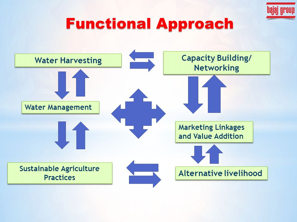 Water Harvesting Water Management Sustainable Agriculture Practices Alternative livelihood Marketing Linkages and Value Addition Capacity Building/ Ne