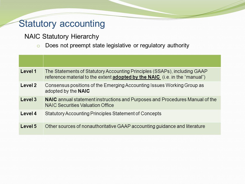 Statutory accounting NAIC Statutory Hierarchy o Does not preempt state legislative or regulatory authority Level 1The Statements of Statutory Accounti