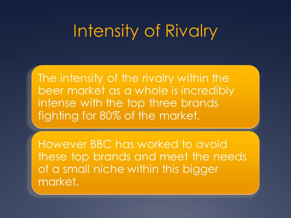 Intensity of Rivalry The intensity of the rivalry within the beer market as a whole is incredibly intense with the top three brands fighting for 80% o