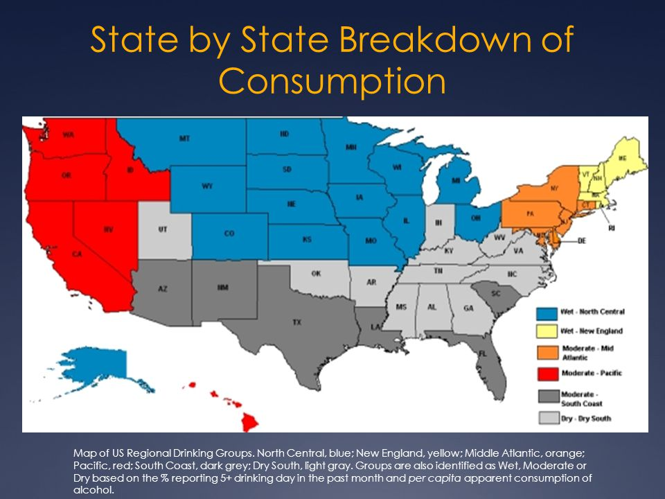 State by State Breakdown of Consumption Map of US Regional Drinking Groups. North Central, blue; New England, yellow; Middle Atlantic, orange; Pacific