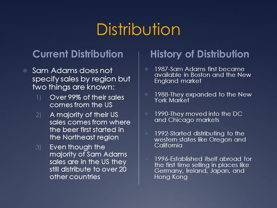 Distribution Current Distribution History of Distribution  Sam Adams does not specify sales by region but two things are known: 1) Over 99% of their