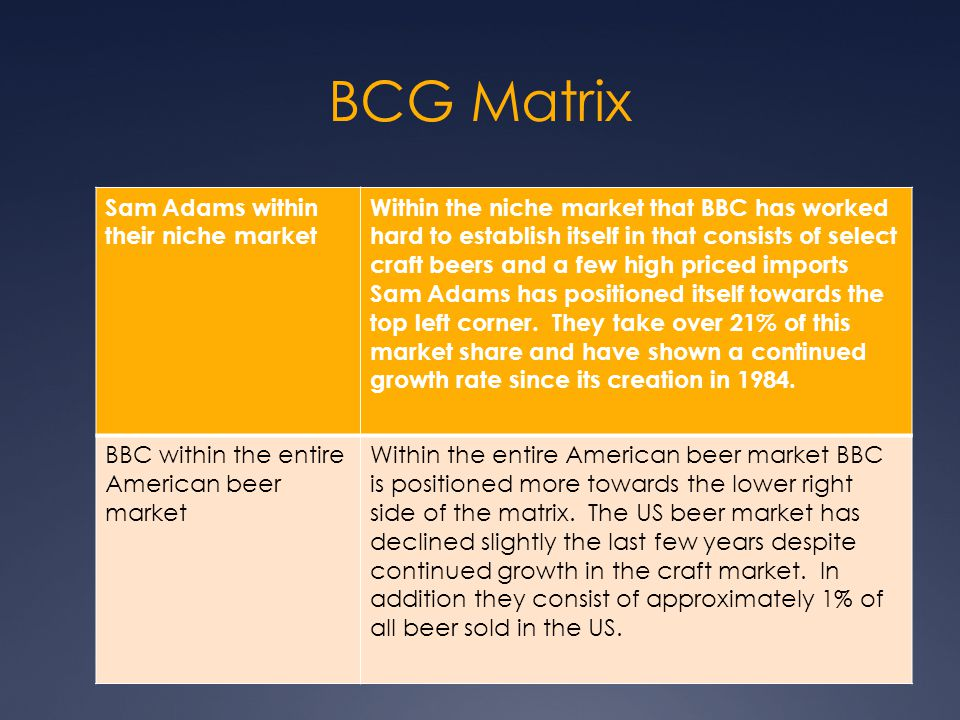 BCG Matrix Sam Adams within their niche market Within the niche market that BBC has worked hard to establish itself in that consists of select craft b