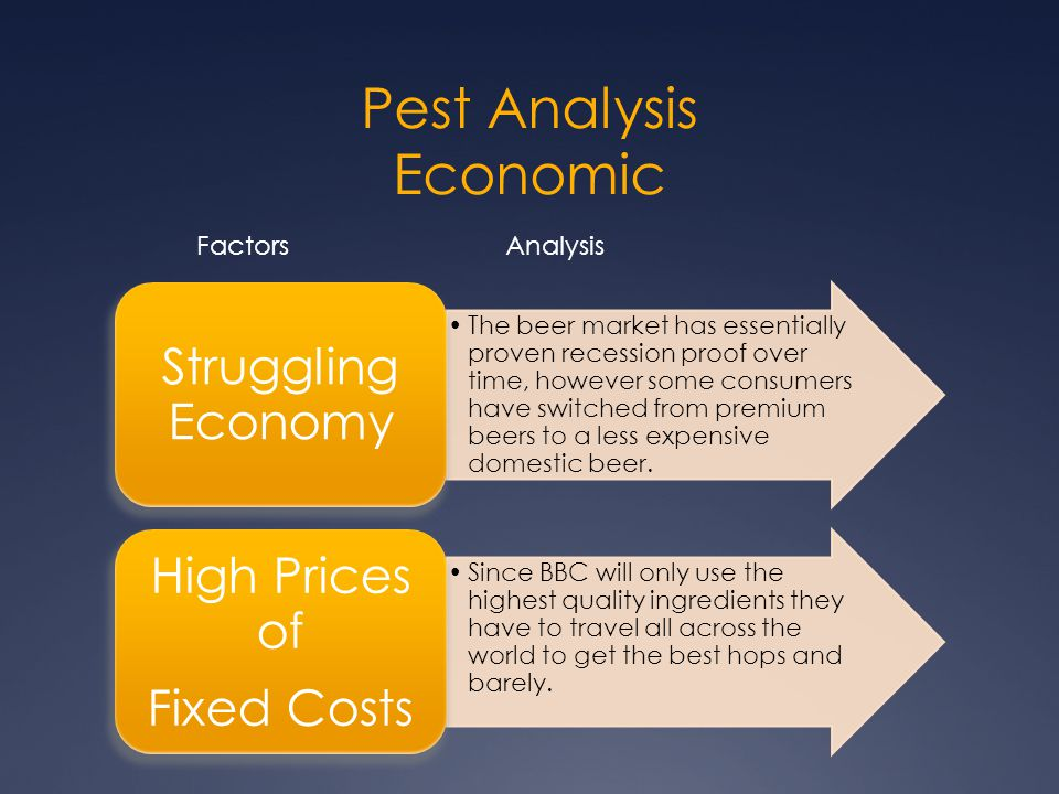 Pest Analysis Economic The beer market has essentially proven recession proof over time, however some consumers have switched from premium beers to a