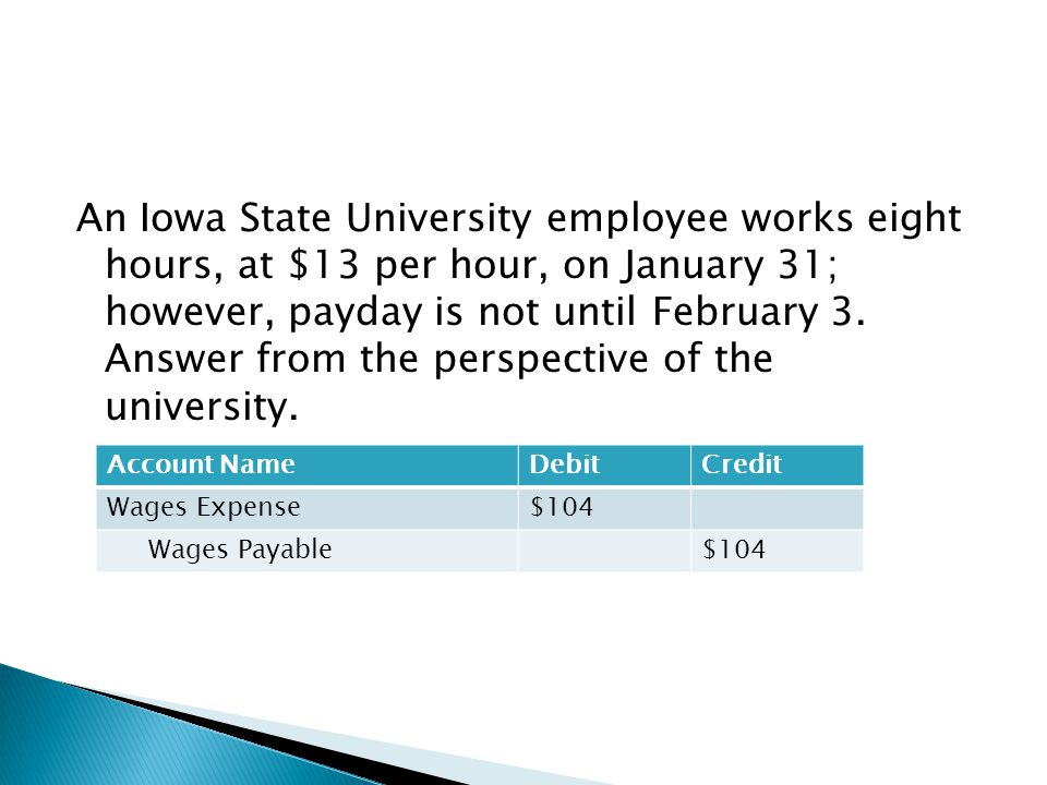 An Iowa State University employee works eight hours, at $13 per hour, on January 31; however, payday is not until February 3. Answer from the perspect