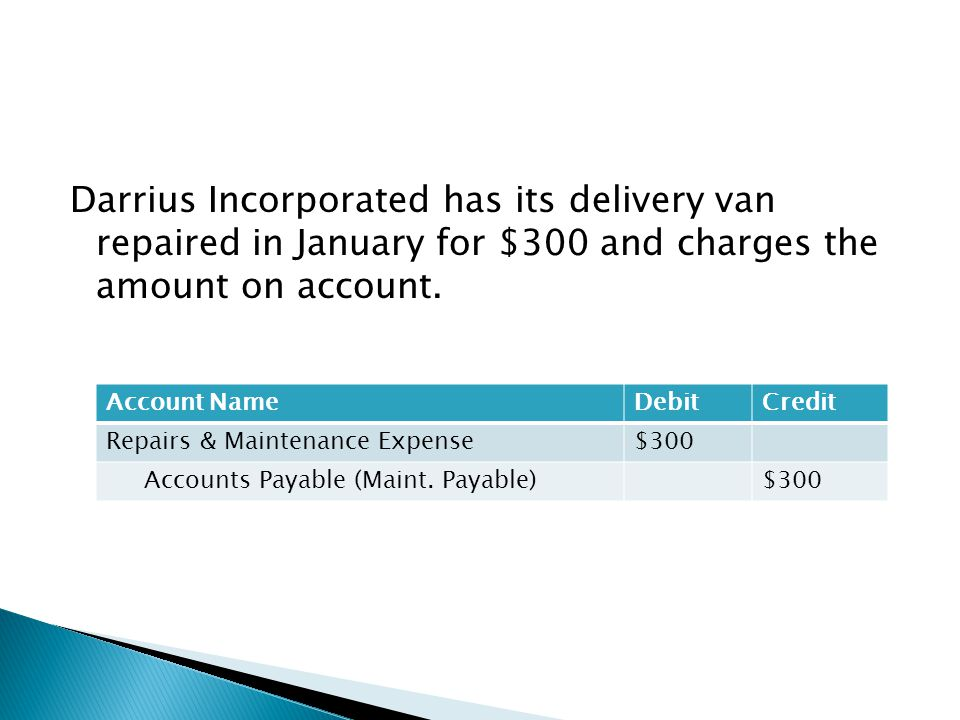 Darrius Incorporated has its delivery van repaired in January for $300 and charges the amount on account. Account NameDebitCredit Repairs & Maintenanc