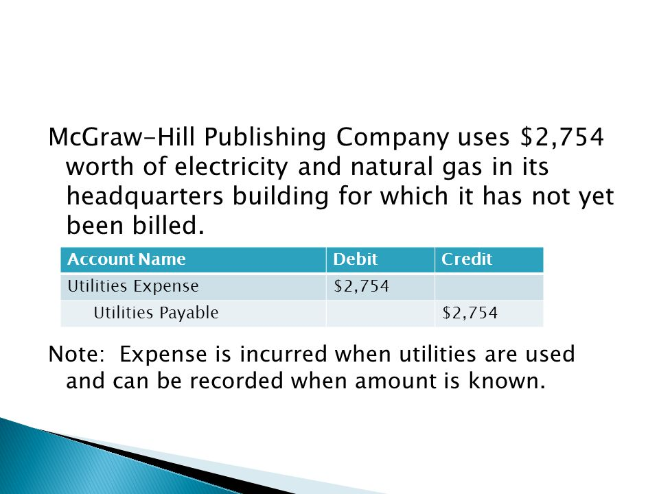 McGraw-Hill Publishing Company uses $2,754 worth of electricity and natural gas in its headquarters building for which it has not yet been billed. Not