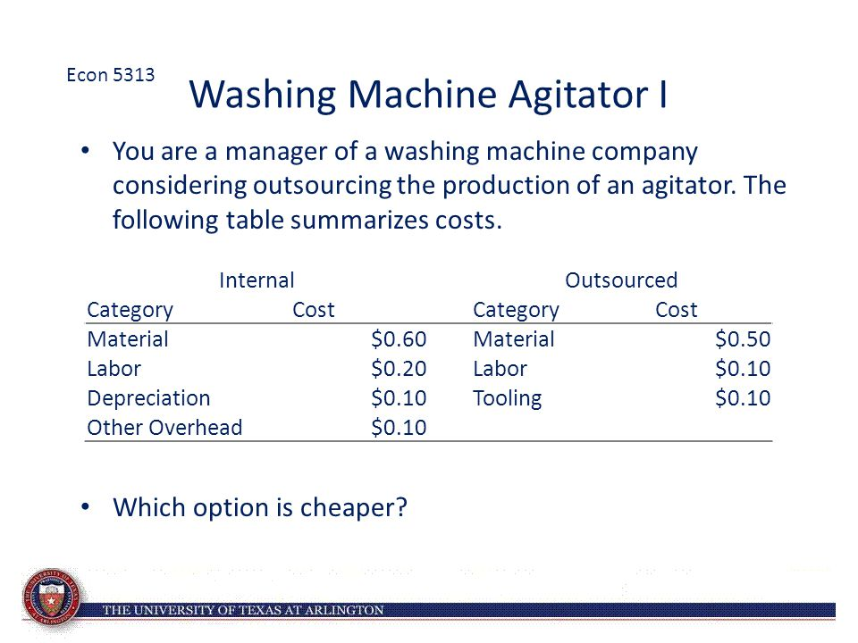 Washing Machine Agitator I You are a manager of a washing machine company considering outsourcing the production of an agitator. The following table s