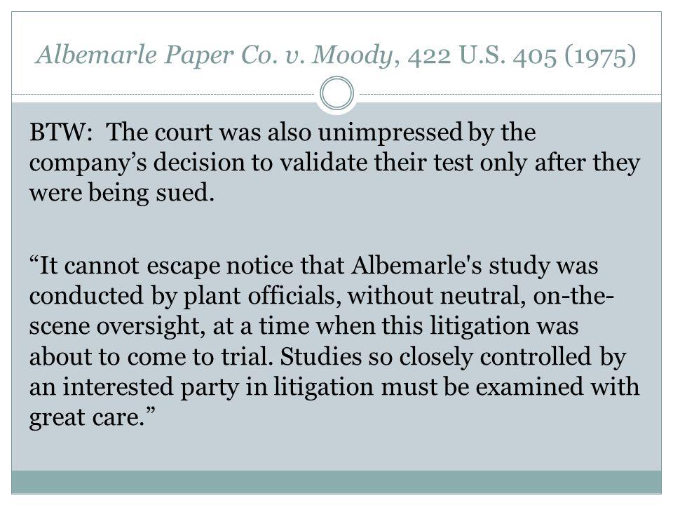 Albemarle Paper Co. v. Moody, 422 U.S.