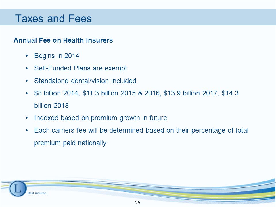 Taxes and Fees 25 Annual Fee on Health Insurers Begins in 2014 Self-Funded Plans are exempt Standalone dental/vision included $8 billion 2014, $11.3 billion 2015 & 2016, $13.9 billion 2017, $14.3 billion 2018 Indexed based on premium growth in future Each carriers fee will be determined based on their percentage of total premium paid nationally 25