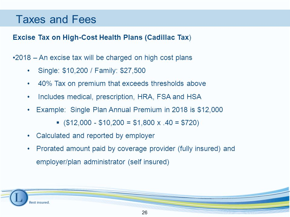 Taxes and Fees 26 Excise Tax on High-Cost Health Plans (Cadillac Tax) 2018 – An excise tax will be charged on high cost plans Single: $10,200 / Family: $27,500 40% Tax on premium that exceeds thresholds above Includes medical, prescription, HRA, FSA and HSA Example: Single Plan Annual Premium in 2018 is $12,000  ($12,000 - $10,200 = $1,800 x.40 = $720) Calculated and reported by employer Prorated amount paid by coverage provider (fully insured) and employer/plan administrator (self insured) 26