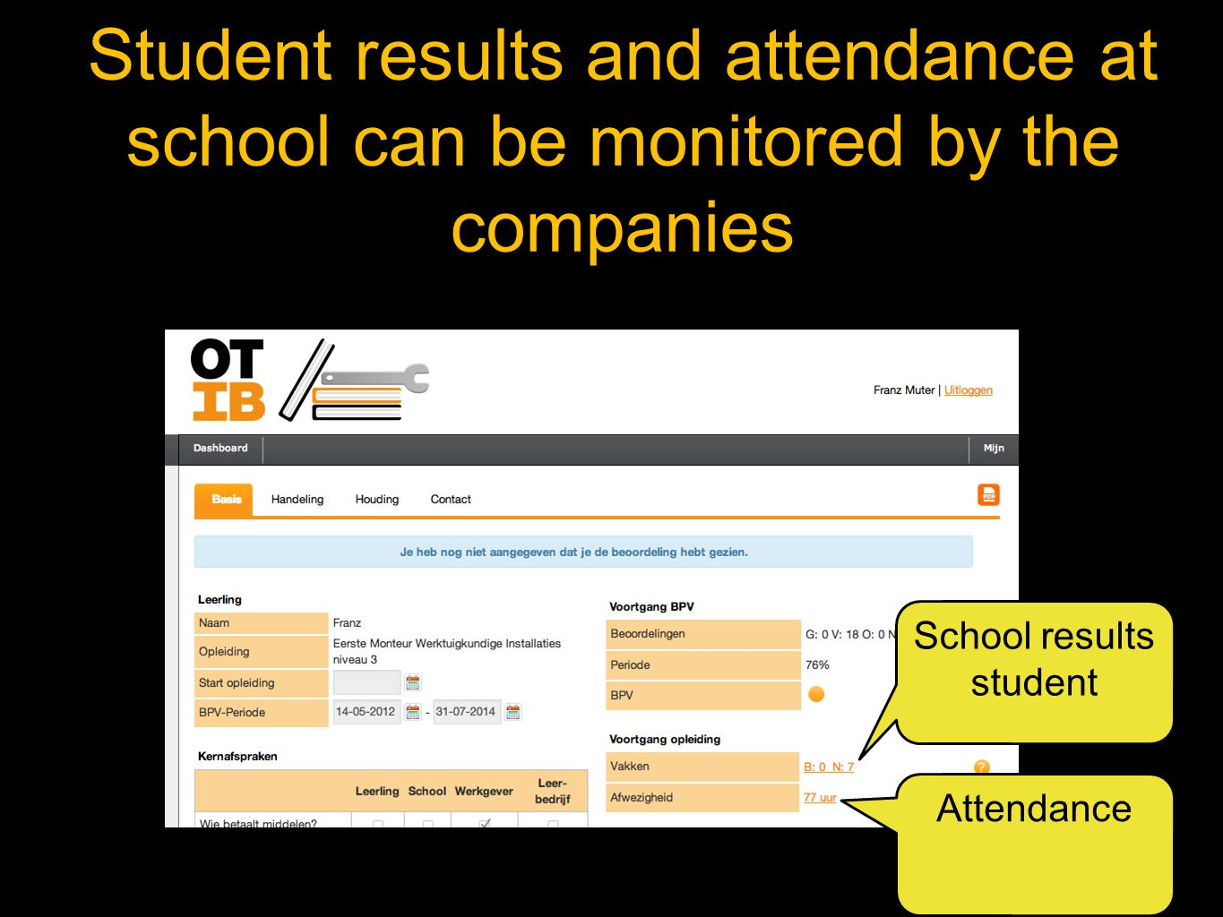 Student results and attendance at school can be monitored by the companies School results student Attendance