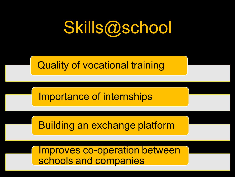 Skills@school Quality of vocational trainingImportance of internshipsBuilding an exchange platform Improves co-operation between schools and companies