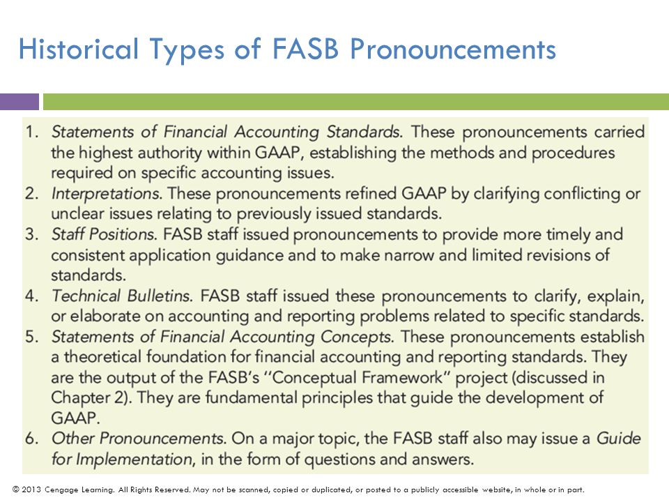 Historical Types of FASB Pronouncements © 2013 Cengage Learning.