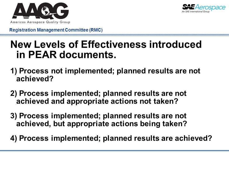 Company Confidential Registration Management Committee (RMC) New Levels of Effectiveness introduced in PEAR documents.