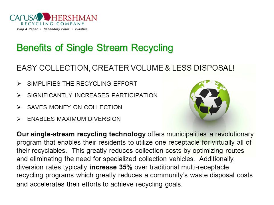 Benefits of Single Stream Recycling EASY COLLECTION, GREATER VOLUME & LESS DISPOSAL.