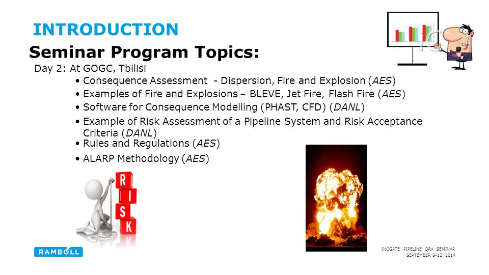 SEPTEMBER 8-12, 2014 INOGATE PIPELINE QRA SEMINAR Day 2: At GOGC, Tbilisi Consequence Assessment - Dispersion, Fire and Explosion (AES) INTRODUCTION S