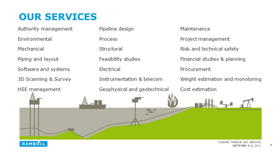 SEPTEMBER 8-12, 2014 INOGATE PIPELINE QRA SEMINAR 7 OUR SERVICES Authority management Environmental Mechanical Piping and layout Software and systems