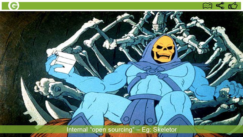 Internal open sourcing – Eg: Skeletor