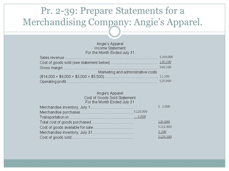 Pr. 2-39: Prepare Statements for a Merchandising Company: Angie's Apparel.