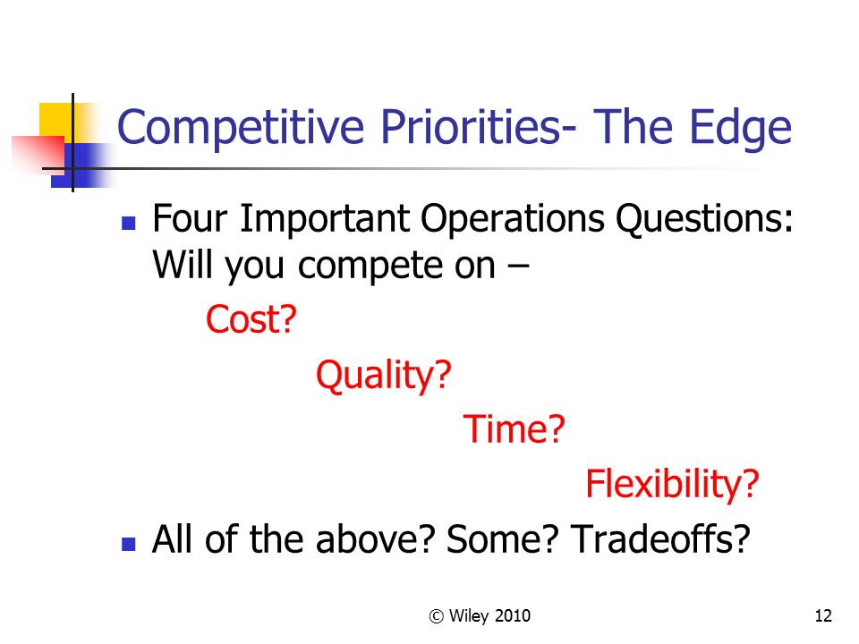 © Wiley 201012 Competitive Priorities- The Edge Four Important Operations Questions: Will you compete on – Cost? Quality? Time? Flexibility? All of th