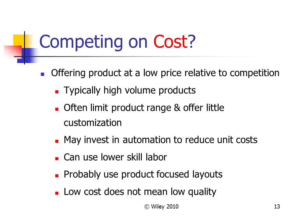 © Wiley 201013 Competing on Cost? Offering product at a low price relative to competition Typically high volume products Often limit product range & o