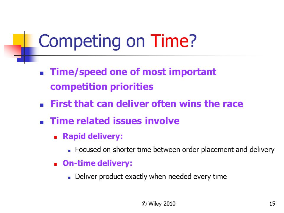 © Wiley 201015 Competing on Time? Time/speed one of most important competition priorities First that can deliver often wins the race Time related issu