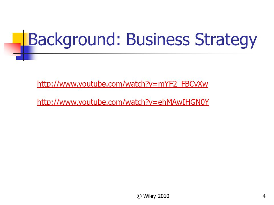 © Wiley 201035 Chapter 2 Highlights Business Strategy is a long range plan and vision.