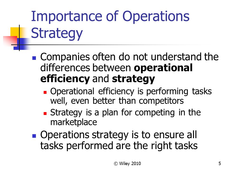 © Wiley 201036 Chapter 2 Highlights The operations strategy focuses on developing specific capabilities called competitive priorities.